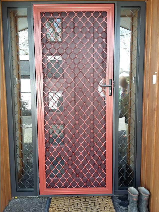 Pioneer Red Security Door With Standard Grille